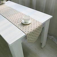 Khăn trải bàn table runner vải bố - Hoa bi - mẫu A07