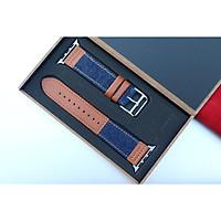Dây da kết hợp vải Canvas thay thế cho Đồng Hồ Apple Watch hộp gỗ cao cấp