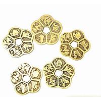 Combo 5 đồng Đồng xu hoa mai may mắn tài lộc bằng đồng