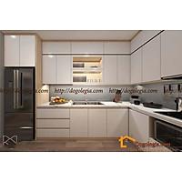 Mẫu Tủ Bếp Gỗ Chữ L Size Lớn Đẹp Mắt LG-TB034