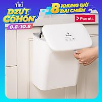 Thùng rác treo tủ bếp có nắp đậy thông minh, thùng rác treo tường dán tường, có thanh trượt cửa bếp – Parroti Bin BN01