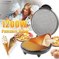1200W Electric Crepe Pancake Maker Egg Roll Ice Cream Cone Waffle Machine Non-Stick Double-side Heating Breakfast