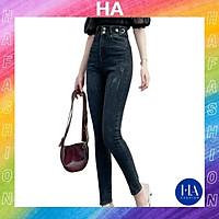 Quần Jean Nữ Lưng Cao H&A Fashion Chất Jean Co Giãn Trơn 2 Nút KVQJN618_624