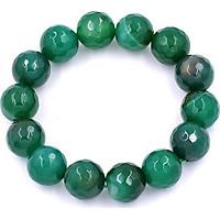 Chuỗi đeo tay đá thạch anh xanh lá cắt giác 14 ly - Vòng chuỗi đeo tay đá phong thủy