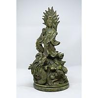 Tượng Phật Bà Quan Âm cưỡi rồng bằng đá xanh