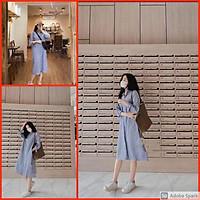 Váy Polo Xanh Nữ  Đầm cổ sơ mi dáng suông kẻ caro xanh dài tay Ulzzang HOT