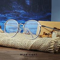 Kính Giả Cận, Gọng Kính Cận Nam Nữ Viền Dày Tròn Bạc Không Độ Hàn Quốc - BLUE LIGHT SHOP