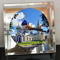 Đồng hồ thủy tinh vuông 20x20 in hình Church - nhà thờ (206) . Đồng hồ thủy tinh để bàn trang trí đẹp chủ đề tôn giáo