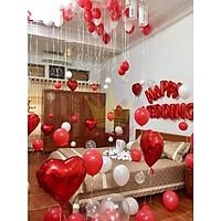 Bộ bóng trang trí phòng cưới, phòng tân hôn tông trắng đỏ lãng mạn
