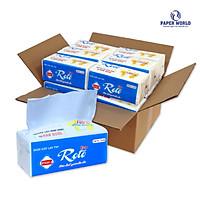 Combo 20 gói khăn giấy lau tay Roto eco20-2 hai lớp 100% bột giấy nguyên sinh, dài 20cm, họa tiết chấm bi xốp, thấm hút 2 chiều, gồm 102 tờ/gói