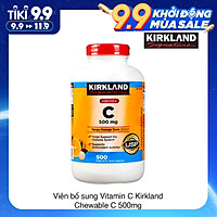Viên Nhai Kirkland Signature Vitamin C 500mg Của Mỹ 500 viên Tăng Cường Hệ Miện Dịch, Sức Đề Kháng, Sáng Da, Chống Lão Hóa, Phòng Cảm Cúm