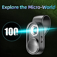 Portable 100x Mini Microscope LED Lens fits Mobile Phone Camera for Kid Children and Adults,Easy to Install
