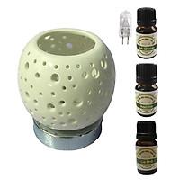 3 tinh dầu (Sả chanh, bạc hà, cà phê) Eco 10ml và đèn xông tinh dầu cảm ứng trắng AH92 và 1 bóng đèn