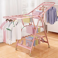 Giá phơi hợp kim nhôm xếp tầng gia đình -Sào phơi đồ ban công thoáng mát - Giá treo quần áo đơn giản cho bé