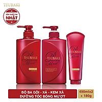Bộ ba dầu gội - dầu xả - kem xả dưỡng tóc bóng mượt Tsubaki Premium Moist