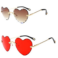2Pcs Girls Women Gradient Rimless Heart Shape UV400 Protection Sun Glasses