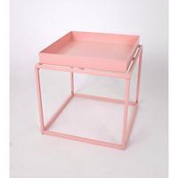 Bàn vuông, mã GT-252S, chất liệu sắt, phủ sơn màu hồng lì, KT 40*40*36cm