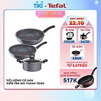 Bộ nồi chảo Tefal G134S495 Cook Healthy gồm Chảo 24cm, Chảo sâu 28cm, Nồi 20cm - Hàng chính hãng