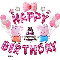 Sét bong bóng trang trí sinh nhật mẫu heo kèm BƠM màu hồng
