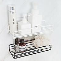 Kệ góc nhà tắm sơn tĩnh điện dán tường nhà tắm, nhà bếp đa năng, tiện dụng (có miếng dán đi kèm)