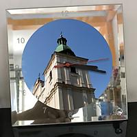 Đồng hồ thủy tinh vuông 20x20 in hình Church - nhà thờ (18) . Đồng hồ thủy tinh để bàn trang trí đẹp chủ đề tôn giáo