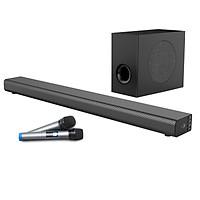 Bộ Sản Phẩm Cho Ngôi Nhà Sống Động Loa Soundbar 5.1 Bluetooth Hát Karaoke AMOI L5 + Loa Siêu Trầm S2 Tặng 02 Micro Không Dây AZONE - Đen