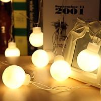 Dây đèn bóng tròn lớn 5cm trang trí màu vàng ấm kích thước 5m 20 led cắm điiện