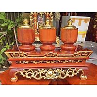 Bộ khay đài nước gỗ hương  thếp vàng chất lương cao