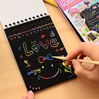 Giấy vẽ cạo màu sắc sáng tạo tranh vẽ graffiti magic color paper 12 tờ