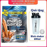 Combo Sữa tăng cân Premium Mass Gainer của Muscle Tech hương Chocolate bịch 5.4 kg & Bình lắc 600 ml (Màu Ngẫu Nhiên)