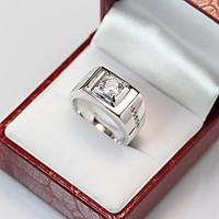 Nhẫn bạc nam đẹp đính đá trắng sang trọng tinh tế NNA0039