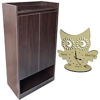 Tủ giày MDF 58cm Màu Nâu Đen + Đồng hồ Handmade Decor độc đáo