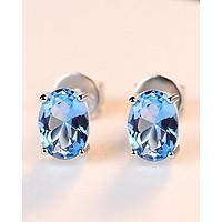 Bông tai nữ bông tai Bạc cao cấp 925 đính đá xanh Hàn Quốc - Bông tai bạc thật s925 tự nhiên B1448 bảo Ngọc Jewelry
