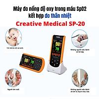 Máy đo nồng độ oxy trong máu SpO2 cầm tay Creative Medical SP-20, kết hợp kiểm tra thân nhiệt