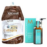 Combo túi ủ tóc Collagen Karseell 500ml tặng chai tinh dầu dưỡng tóc Moroccanoil Treatment 125ml - Chính hãng