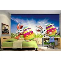 Tranh dán tường 3D thỏ tinh nghịch TB68