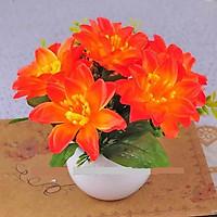 Chậu Bonsai Hoa Lụa 6 bông hoa mẫu đơn màu Cam