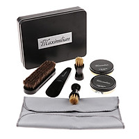 8Pcs/set Boots Shoes Shine Kit Polish Clean Brush Wax Cloth Home Travel Case