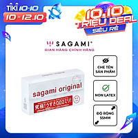 Bao cao su Sagami 002 - Siêu mỏng - Non Latex - Hộp 6 chiếc