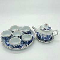 Bộ bình trà men trắng xanh