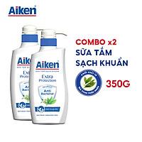 Aiken Combo 2 Sữa tắm Sạch khuẩn Chiết Xuất Trà Xanh Thiên Nhiên 350g/chai