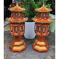 Siêu phẩm cặp đèn thờ gỗ hương cao cấp - 30 x 30 x 81 ( cm )
