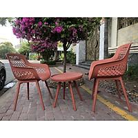 Bộ bàn ghế nhựa trong nhà màu hồng đất
