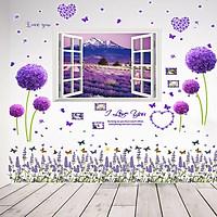 Bộ 3 tờ Decal dán tường cửa sổ, hoa tím và chân tường - HP122