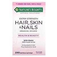 Natures Bounty Optimal Solutions Hair Skin and Nails Argan Oil Infused 5000mcg of Biotin, 250 Softgels