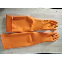 Găng tay gia dụng dạng dài màu cam - dài trên khuỷu tay