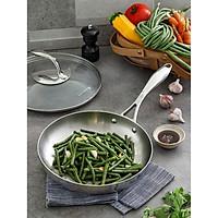 Chảo T Chef Series Frypan 24cm Nắp Kính Tupperware, Chảo Cao Cấp. Thép Không Gỉ