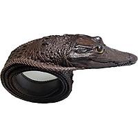 Thắt lưng da cá sấu nguyên con đan viền có đầu Ruby Luxury