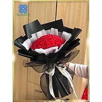 Hoa Sáp Hồng Đỏ Tươi Giấy Đen