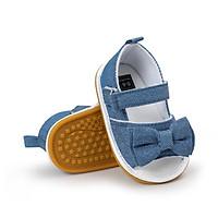Sandal tập đi cao cấp - Jean xanh có nơ cho bé gái